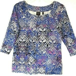 Rafaella studio floral 3/4 sleeve top shirt size M